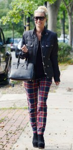 6. Denise Van Outen, radio DJ & actress looked carefree and stylish as she wore red tartan trousers with black wedges, a Prada handbag and a fitted leather jacket.